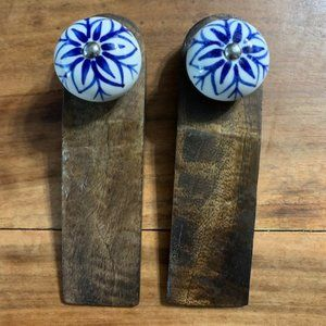 Vintage Wood and Porcelain Door Stoppers